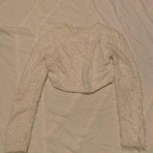 White fuzzy crop sweater